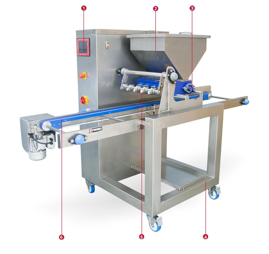 Dosificadora de muffins, brownies, panqués, y otros productos de pastelería. Partes de la máquina.